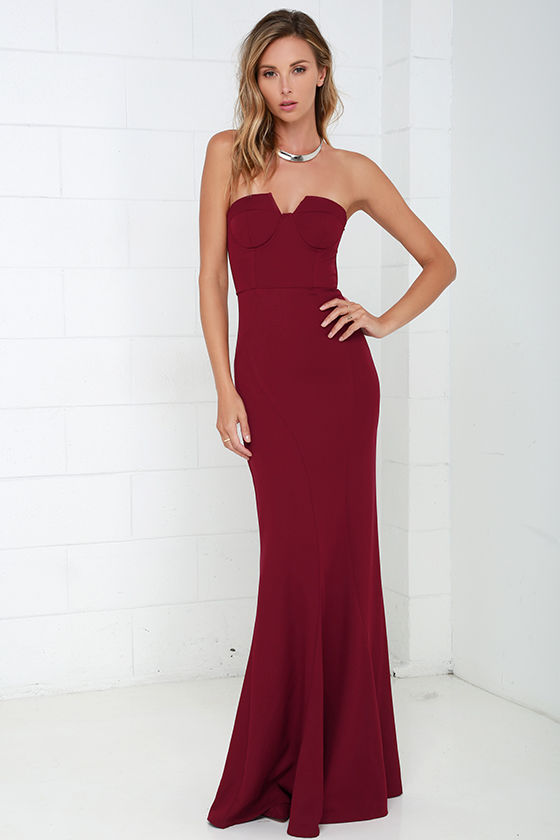 Wine Red Gown - Strapless Dress - Bustier Dress - Maxi Dress - $78.00
