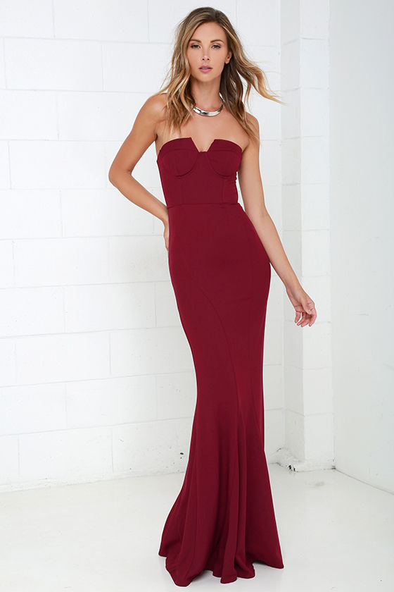 f33bdbcd4261 Wine Red Gown - Strapless Dress - Bustier Dress - Maxi Dress - $78.00