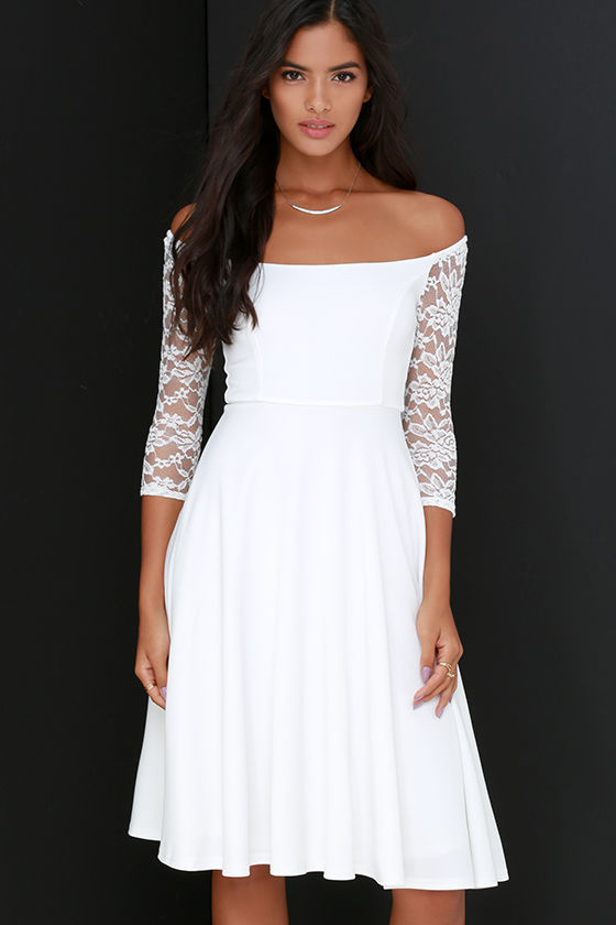 4201bd27beec Chic Ivory Dress - Lace Dress - Midi Dress - Half Sleeve Dress - $54.00
