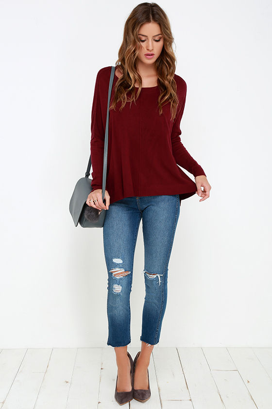 Lovely Wine Red Sweater - High-Low Sweater - Long Sleeve Top -  69.00 703804df5