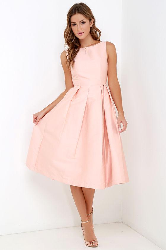 dc88f21fb599 Blush Dress - Midi Dress - Fit-and-Flare Dress - $195.00