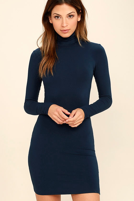 Navy Blue Dress - Turtleneck Dress - Long Sleeve Dress - Bodycon ...