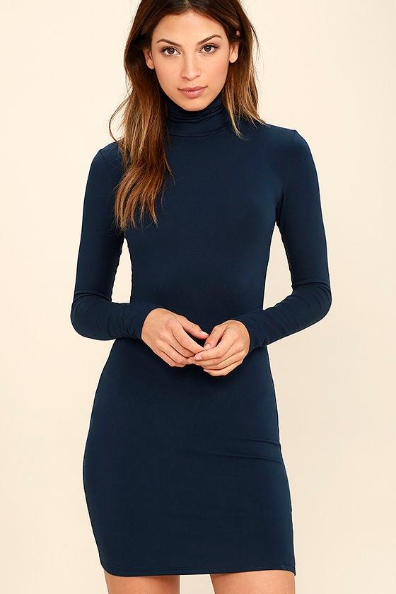 High Hopes Navy Blue Long Sleeve Bodycon Dress 1