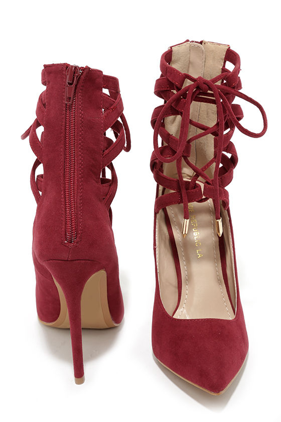 Sexy Wine Red Heels - Lace-Up Heels - Lace-up Pumps - $41.00
