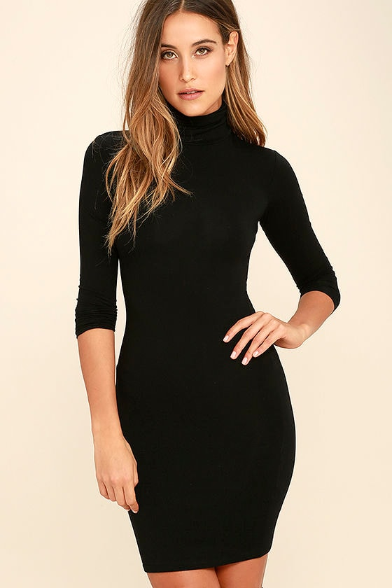 Black Dress - Turtleneck Dress - Long Sleeve Dress - Bodycon Dress ...