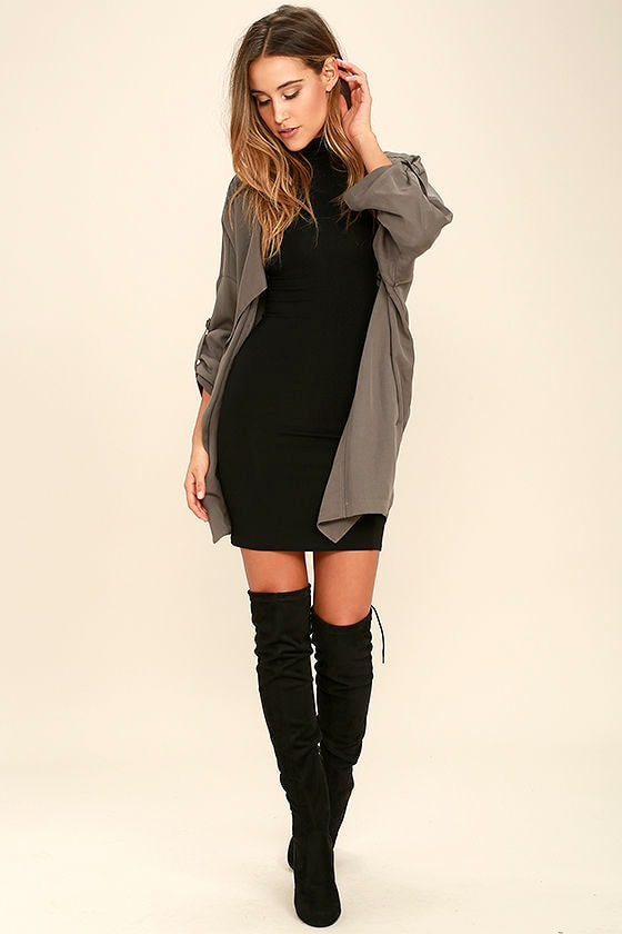 High Hopes Black Long Sleeve Bodycon Dress 2
