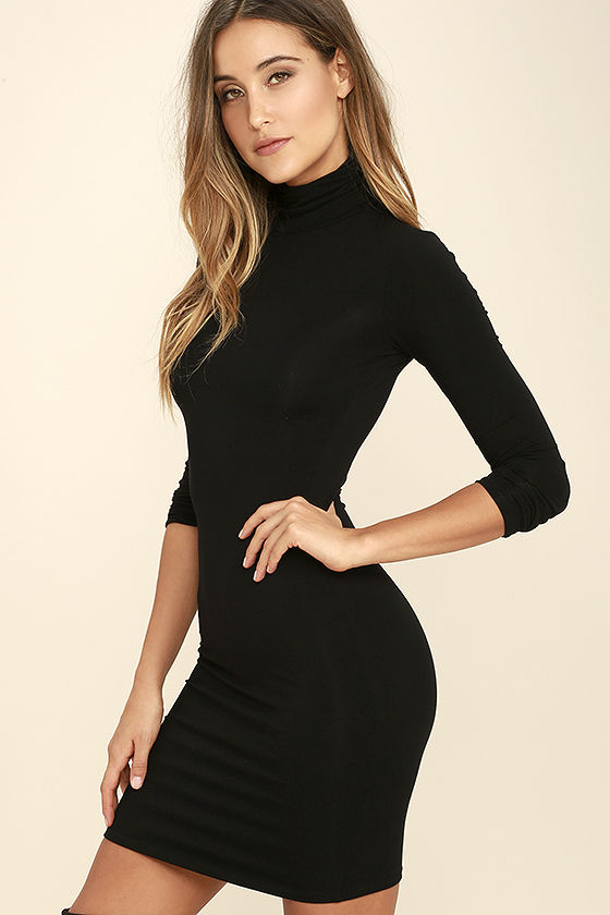 High Hopes Black Long Sleeve Bodycon Dress 3