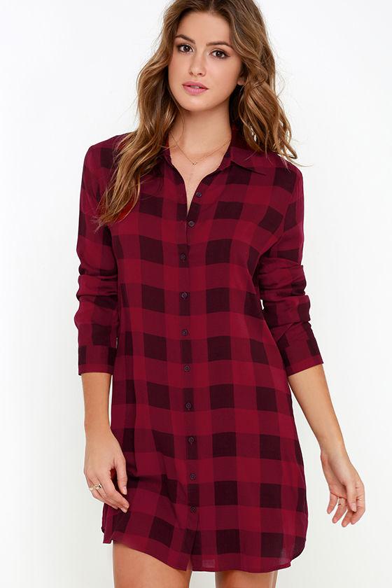 Bb dakota kendrick dress wine red plaid dress shirt for Red plaid dress shirt