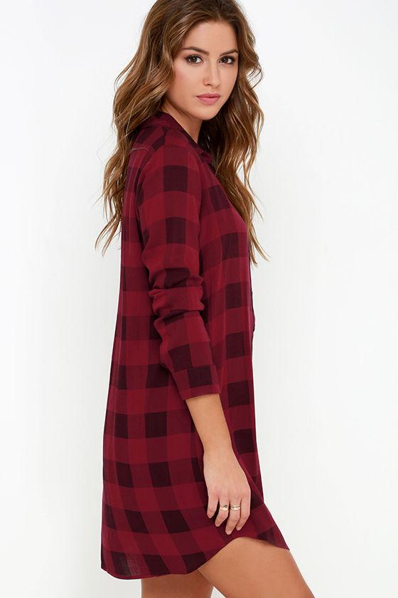 BB Dakota Kendrick Dress - Wine Red Plaid Dress - Shirt Dress ...