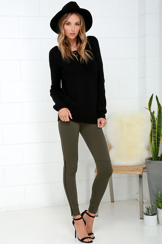 Cool Olive Green Leggings - Zipper Leggings - Ankle Zipper Leggings - $49.00