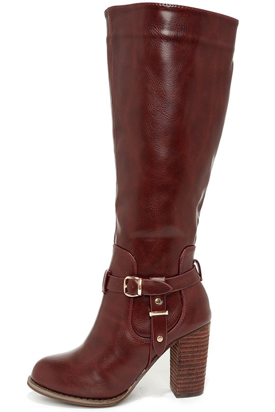 3f38bea5a51 Cool Wine Red Boots - Knee High Boots - Buckle Boots - Vegan Leather Boots  -  48.00