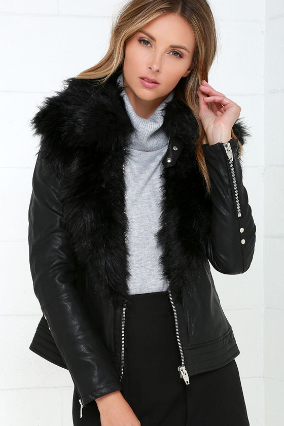 Blank NYC Control Freak - Vegan Leather Jacket - Faux Fur Jacket ...