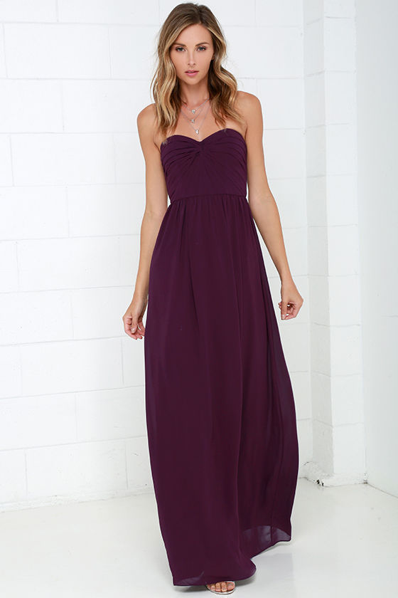 Pretty Plum Purple Dress - Strapless Dress - Maxi Dress - Blue ...