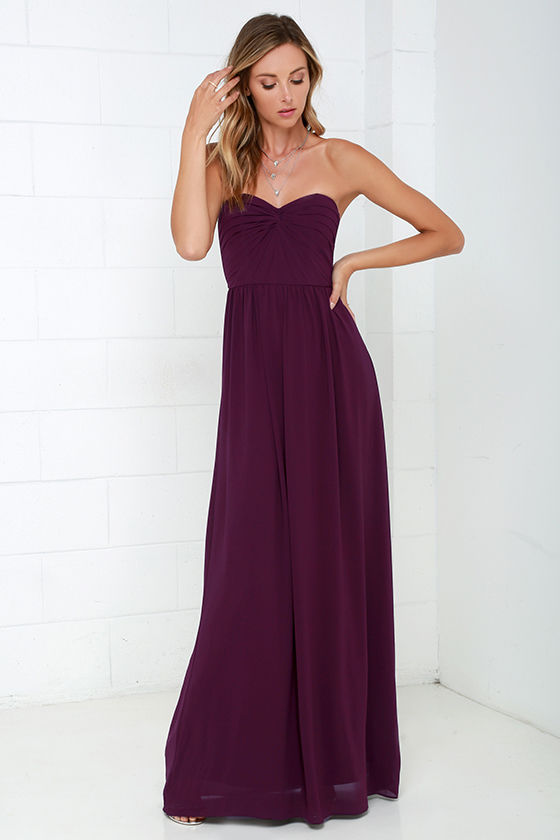 b5818c8c662 Pretty Plum Purple Dress - Strapless Dress - Maxi Dress - Blue Gown ...