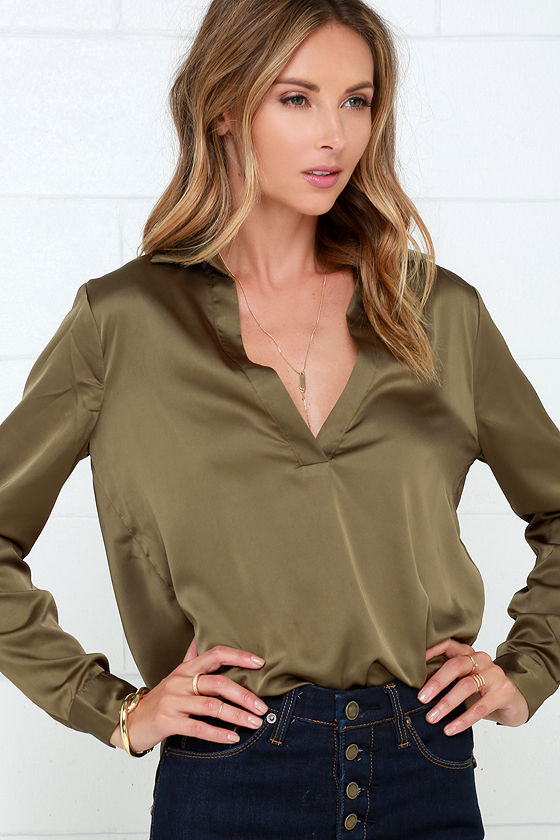 464d548bd67 Olive Green Top - Satin Top - Long Sleeve Blouse -  37.00