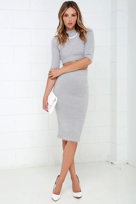 19957d7607f Chic Grey Dress - Two-Piece Dress - Eyelash Knit Dress -  94.00