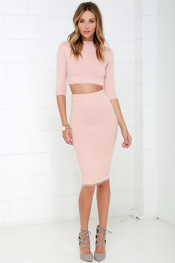 Chic Blush Pink Dress - Two-Piece Dress - Eyelash Knit Dress - $94.00