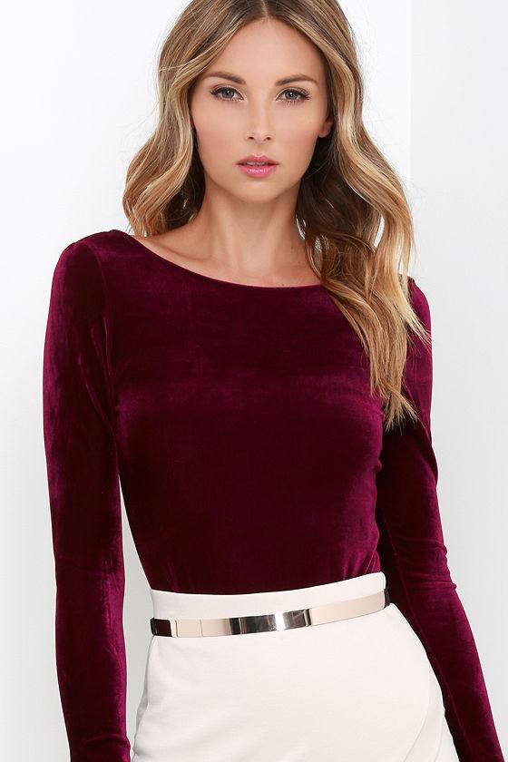 Sexy Burgundy Velvet Bodysuit - Long Sleeve Bodysuit - Velvet One-Piece -   33.00 816585753