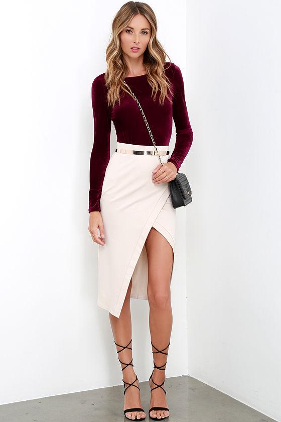 e4b3e4641b Sexy Burgundy Velvet Bodysuit - Long Sleeve Bodysuit - Velvet One ...
