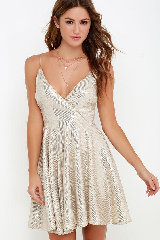 Lovely Gold Dress - Sequin Dress - Skater Dress - $77.00