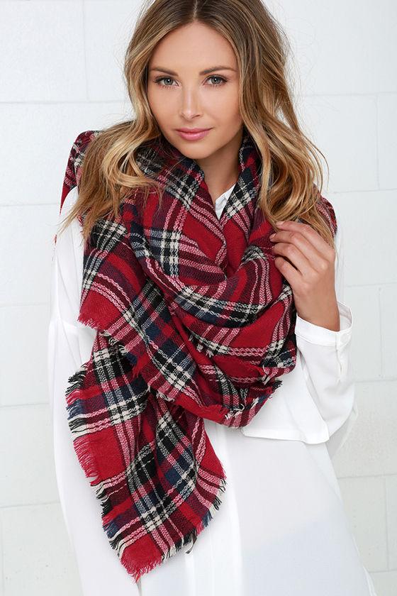 14280e17b310d5 Cute Red Scarf - Plaid Scarf - Print Scarf - Blanket Scarf - $22.00