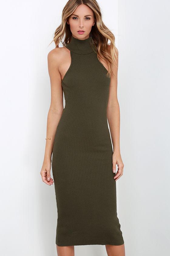 Stylish Olive Green Dress Bodycon Dress Sweater Dress Mock