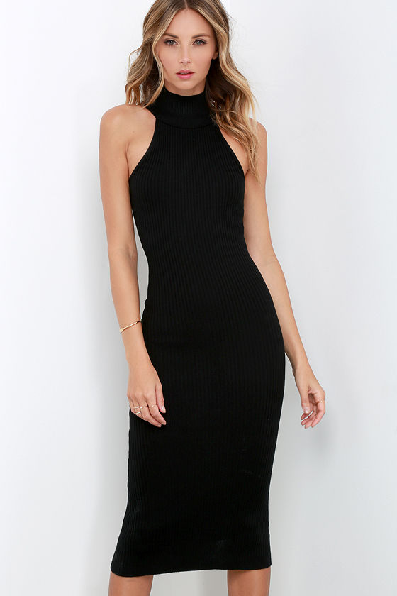 Mock neck dresses black
