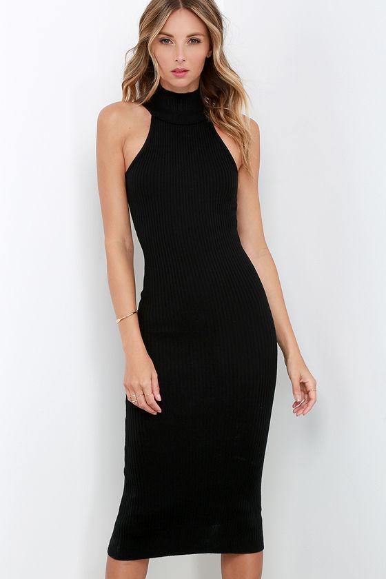 d6300d6b6b0 Stylish Black Dress - Bodycon Dress - Sweater Dress - Mock Neck Dress -