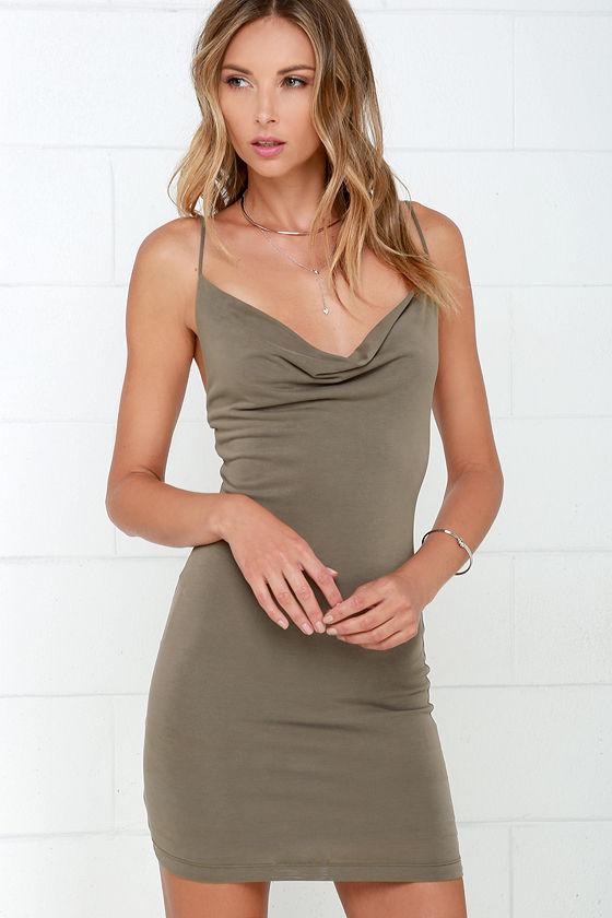 32d8ae74c83 Cowl Neck Dress - Taupe Dress - Bodycon Dress -  44.00