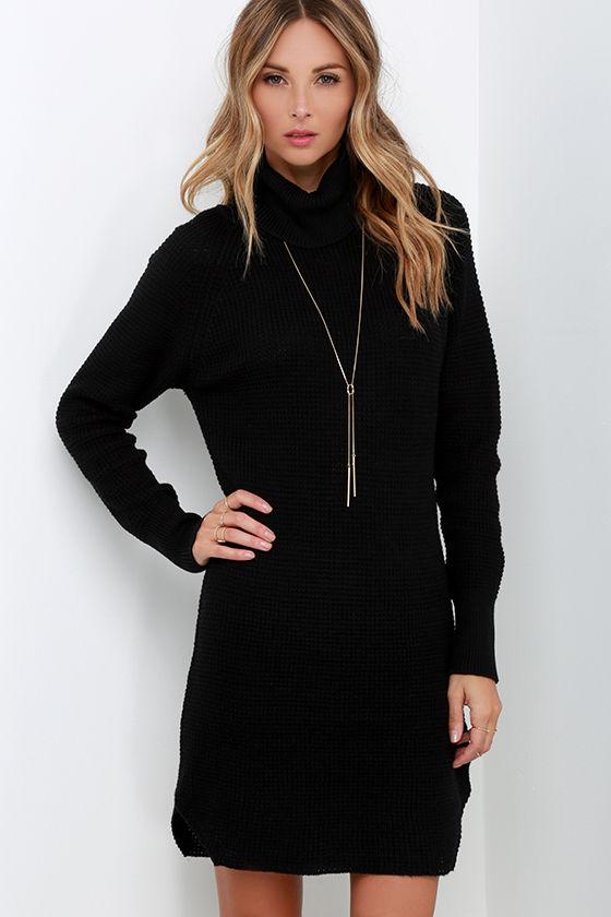 Cute Black Knit Dress - Sweater Dress - Turtleneck Dress -$79.00