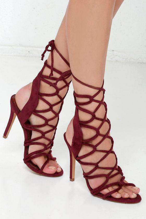 Sexy Wine Red Heels - Lace-Up Heels - High Heel Sandals - $41.00