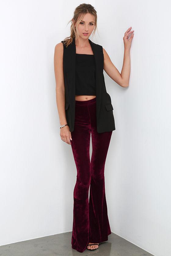 Cute Burgundy Velvet Pants - Wide Leg Pants - Flare Pants - 32.00 65e545b28d04