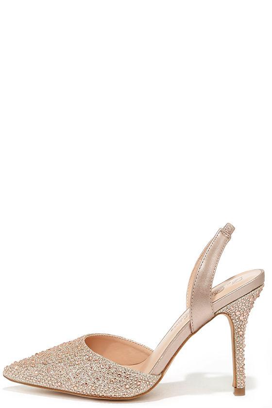 1f58ea90a2e2 Pretty Nude Heels - Slingback Heels - Rhinestone Heels -  48.00