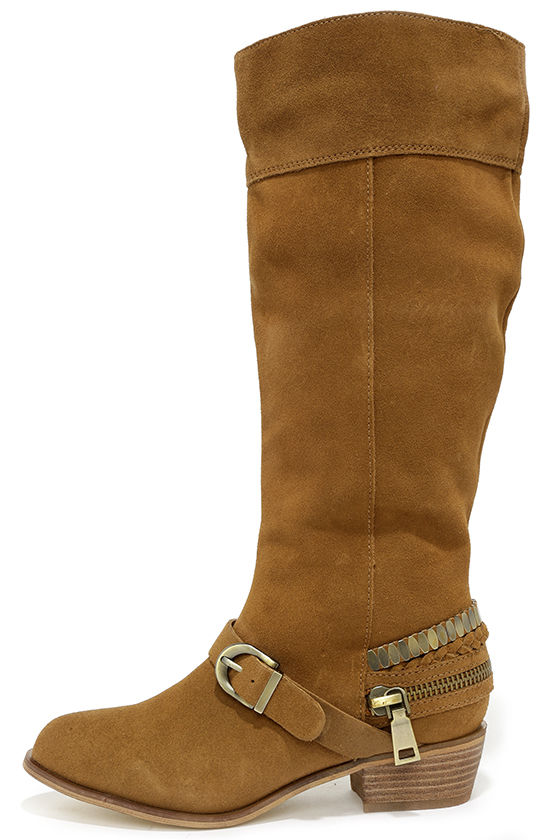 Cute Camel Boots - Suede Boots - Knee-High Boots - Flat Boots ...