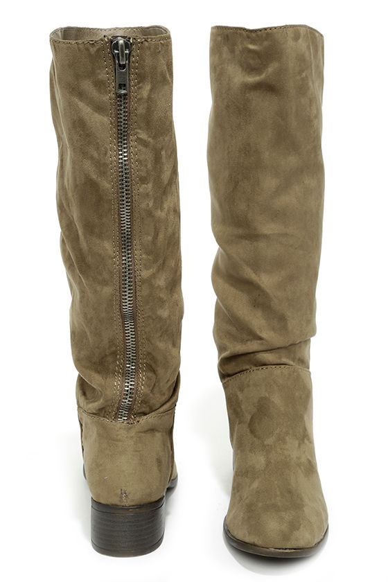 62d99d57ad5 cute taupe boots suede boots knee high boots flat boots 69 00 rh ...