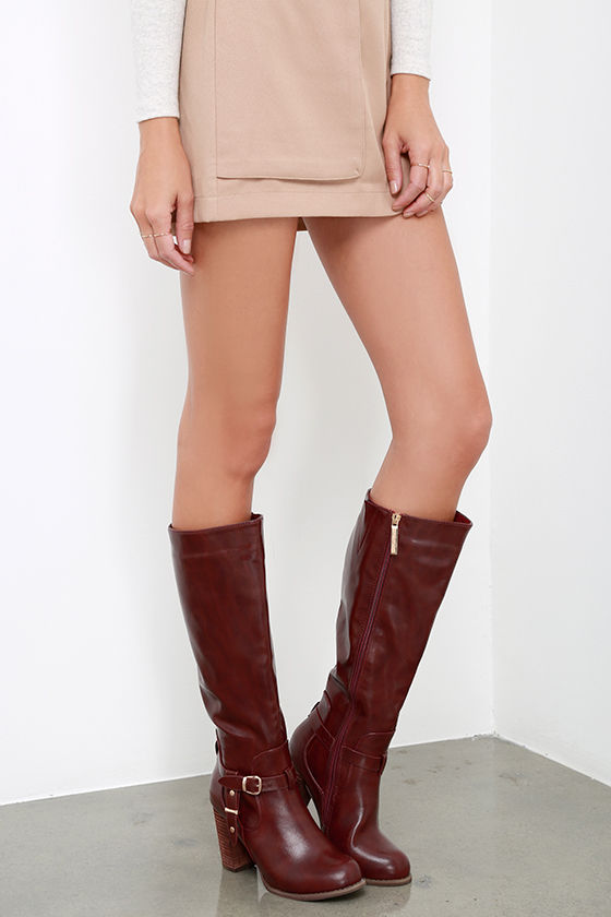 bd35ab6dca6 Cool Wine Red Boots - Knee High Boots - Buckle Boots - Vegan Leather ...