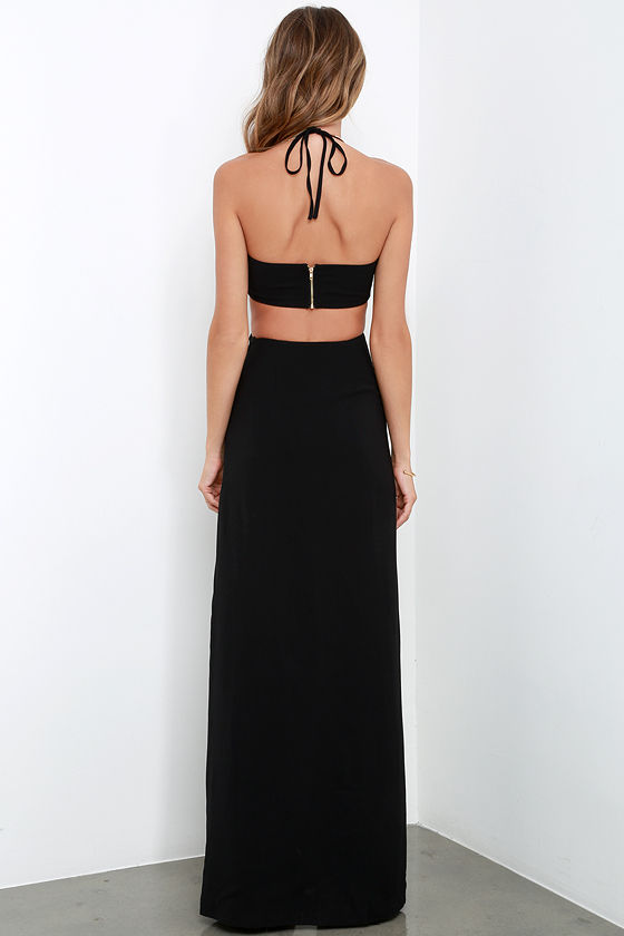 Maxi Dress - Black Dress - Halter Dress - $64.00