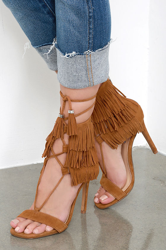6aa3d2d30 Cute Suede Heels - Fringe Heels - Dress Sandals - Lace-Up Heels -  129.00