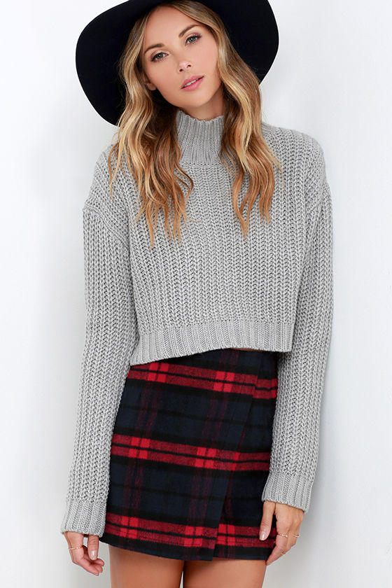 Cute Red Navy Plaid Skirt - Envelope Skirt - Flannel Skirt - $52.00