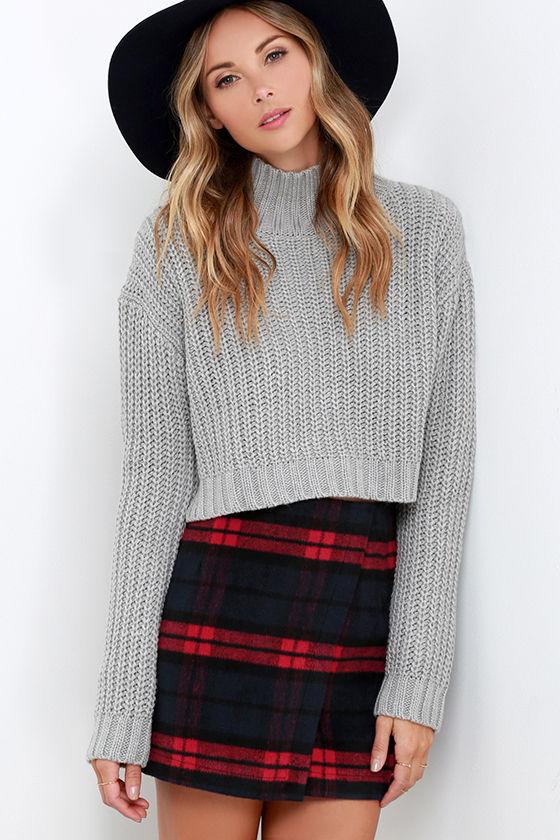 Cute Red Navy Plaid Skirt - Envelope Skirt - Flannel Skirt - $52.00