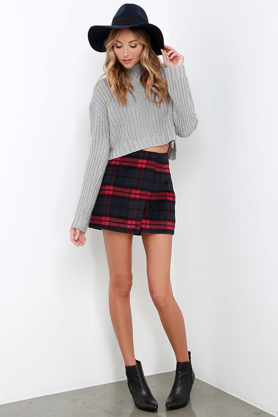 15ca282f68 Cute Red Navy Plaid Skirt - Envelope Skirt - Flannel Skirt - $52.00