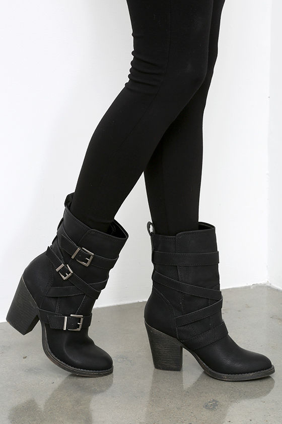 Buckled Boots - Mid-Calf Boots