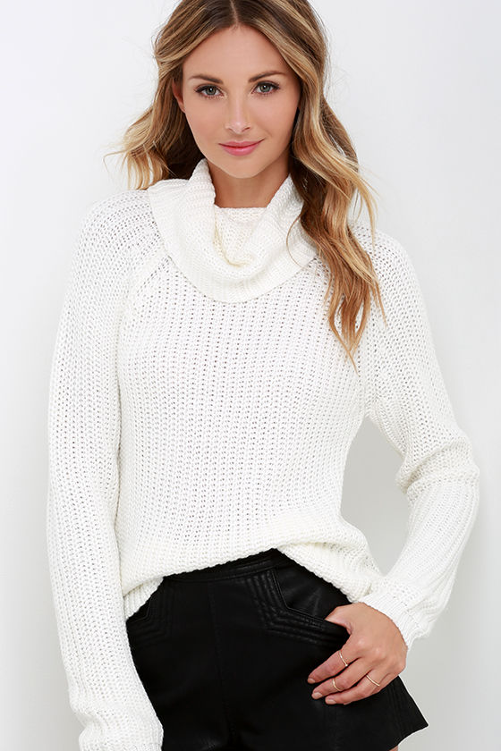 Cream Sweater - Long Sleeve Top - Cowl Neck Sweater - $66.00