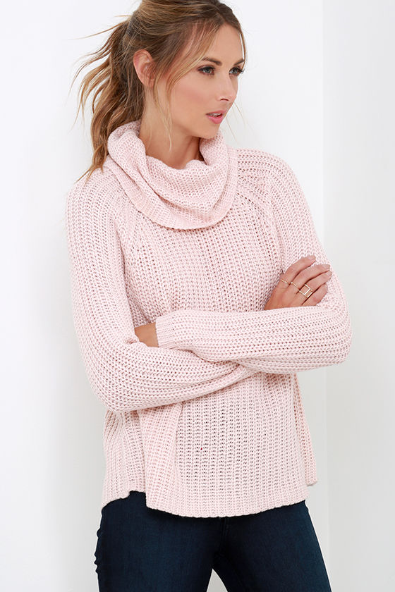 Blush Pink Sweater - Long Sleeve Top - Cowl Neck Sweater - $66.00