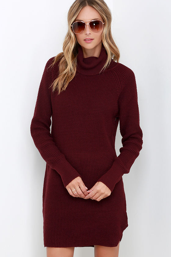 Cute Burgundy Knit Dress Sweater Dress Turtleneck