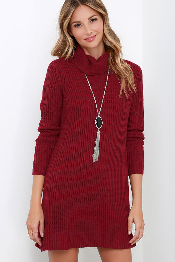 Cute Wine Red Dress - Knit Dress - Sweater Dress - $61.00