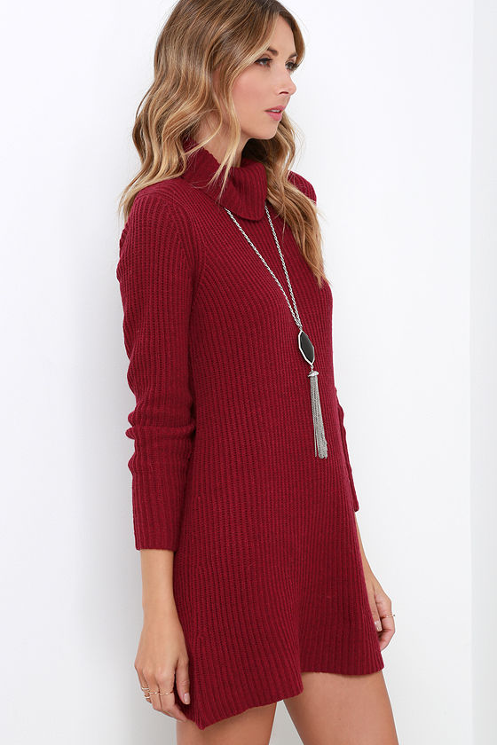 Cute Wine Red Dress - Knit Dress - Sweater Dress - $61.00