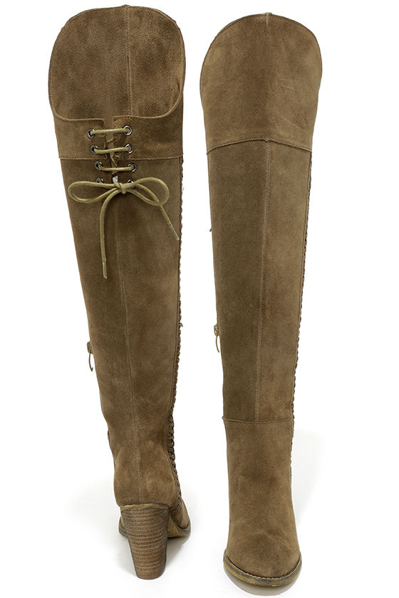 khaki boots the knee boots high heel boots