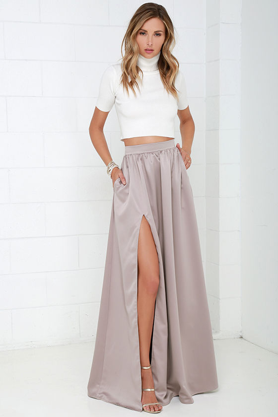 Beautiful Taupe Skirt - Maxi Skirt - Slit Skirt - $62.00
