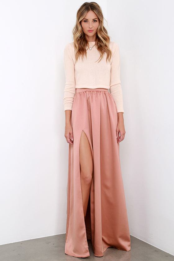 Beautiful Blush Skirt - Maxi Skirt - Slit Skirt - $62.00